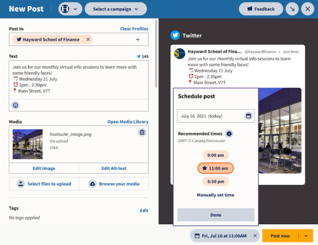 screenshot showing the feature in Hootsuite