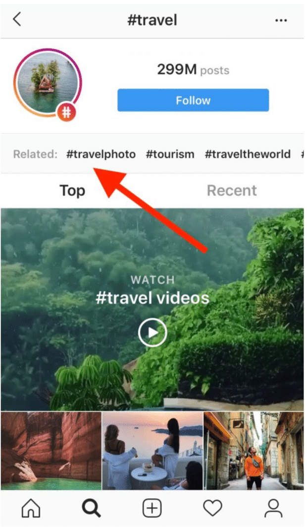 Verwandte Hashtags auf der Explore-Seite von Instagram