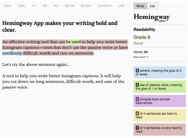 Die Hemingway-App checkt Ihre Texte auf Lesbarkeit und macht Vorschläge zur Verbesserung.
