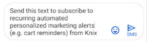 Mensajes de texto personalizados de Knix para notificaciones de marketing