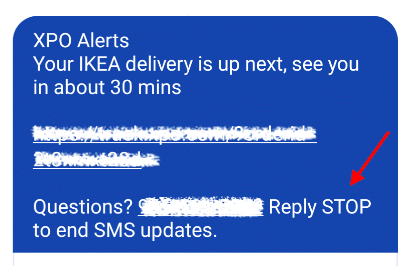 IKEA opt out from text message notifications