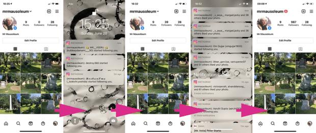 Neue Follower und Like-Benachrichtigungen auf dem Instagram-Profil