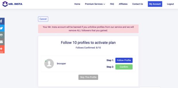 """Mr. Insta fordert Sie auf, 10 Profilen zu folgen, um Ihren """"Instagram-Follower kaufen""""-Plan zu aktivieren"""