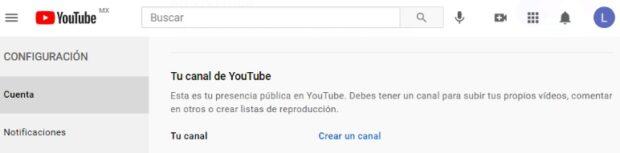 """Captura de pantalla de la sección """"Tu canal de YouTube"""""""