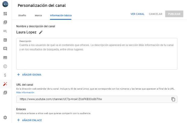 Captura de pantalla de la sección para agregar información de un canal de YouTube