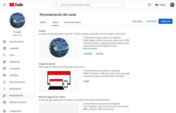 """Captura de pantalla de la sección """"Personalización del canal"""" de YouTube"""
