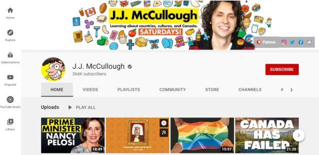 Captura de pantalla de un perfil de YouTube