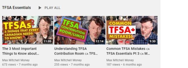 Captura de pantalla de una lista de reproducción de YouTube