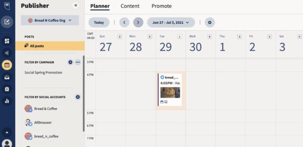 find tweet in planner/content under publisher
