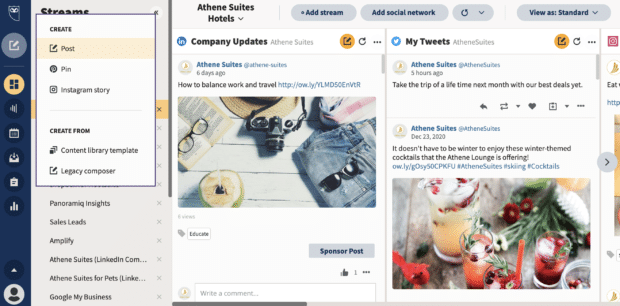 select post on Hootsuite account