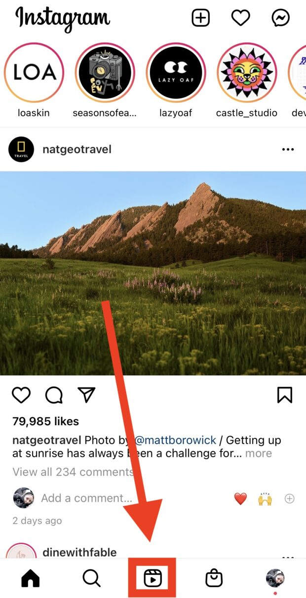 Instagram Reels icon at the bottom of the app's home page