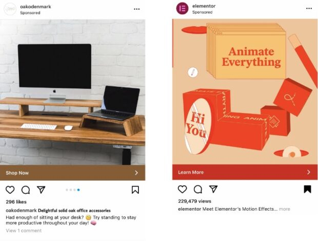 Instagram ads for office accessories and motion effects