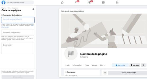 Pantalla que aparece para empezar a crear tu página de Facebook para empresas