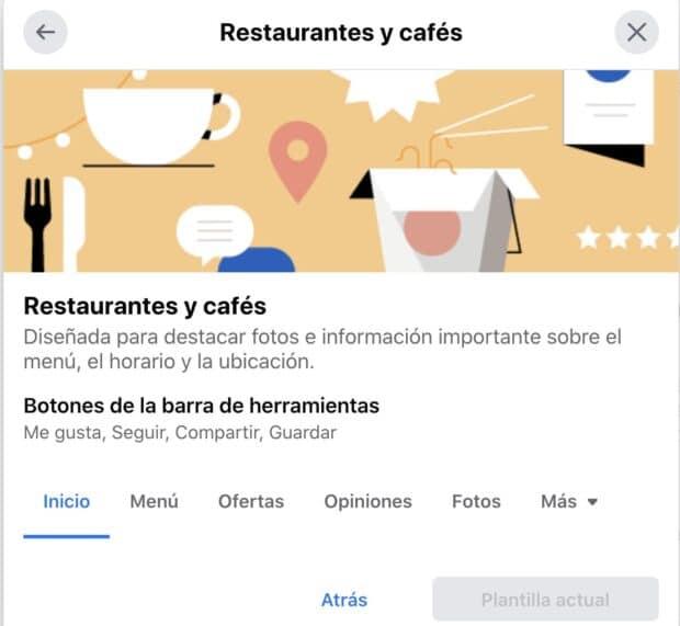 Plantillas para páginas de empresa de Facebook Restaurantes y Cafés, y Negocios