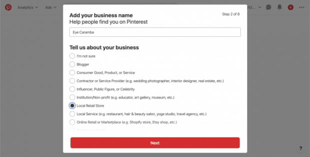 add business name and describe type of business