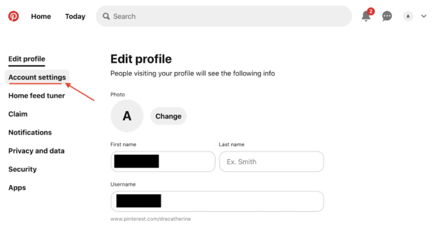 account settings left-hand menu