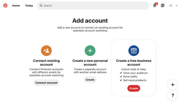 create button under create a free business account