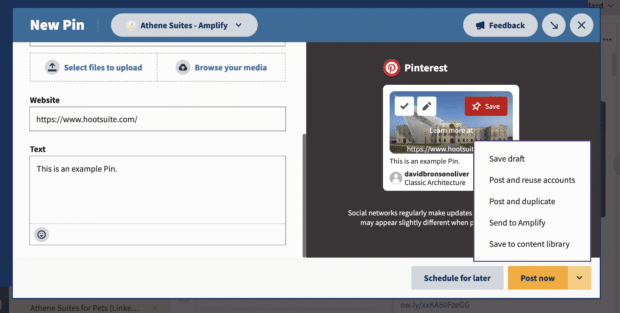 post now or other publishing options on Hootsuite