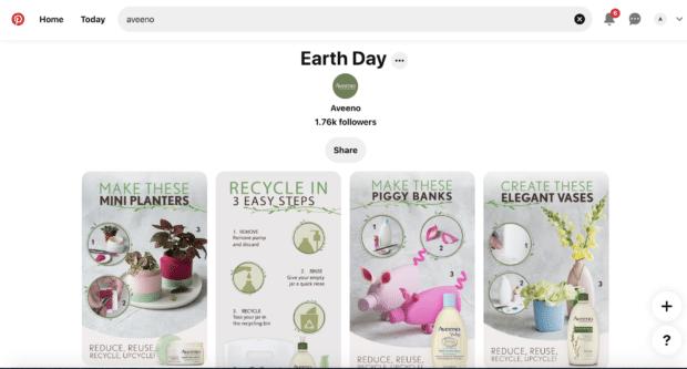 Aveeno Earth Day Pinterest board