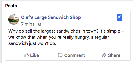 pinned post for Olaf's Sandwich Shop