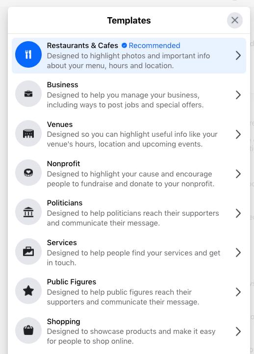 Facebook templates