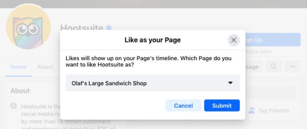 """Mensaje que muestra que los """"Me gusta"""" aparecerán en la línea de tiempo de tu página comercial de Facebook"""