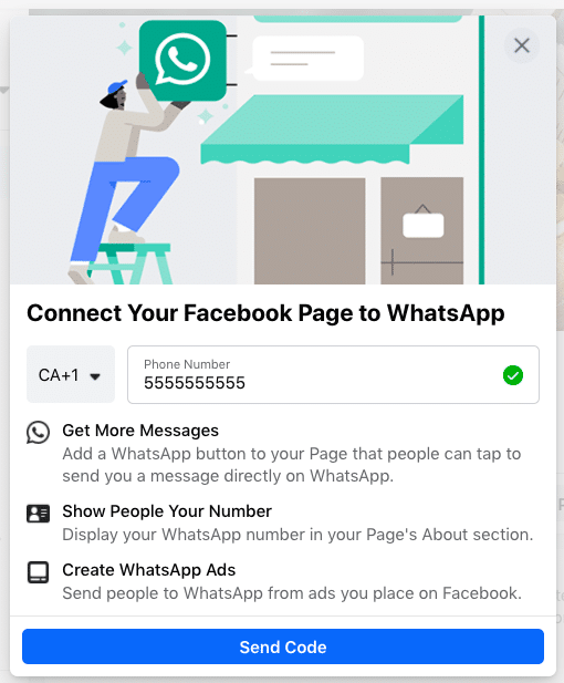 connect Facebook Page to WhatsApp