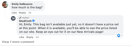 ModCloth customer service response - facebook engagement in 2021