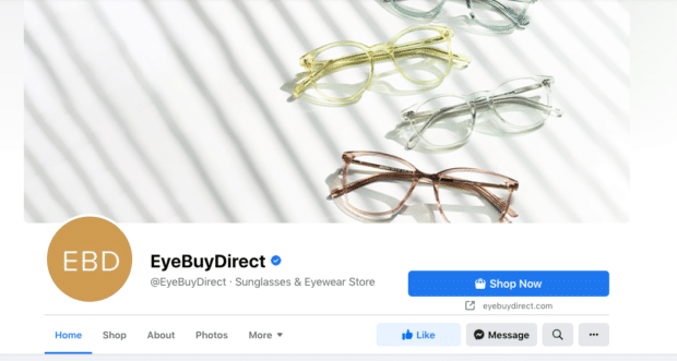 Eye Buy Direct Shop Now button - increase Facebook engagement
