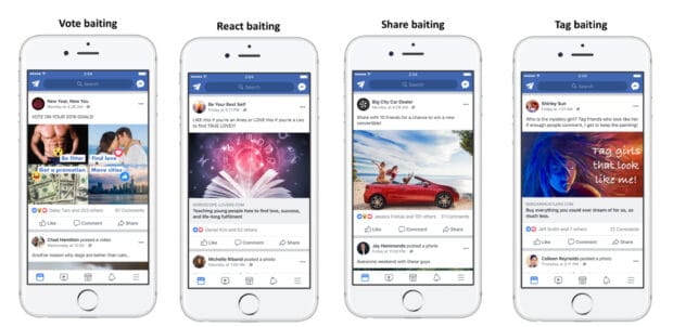 vote baiting react baiting share baiting tag baiting - increase Facebook engagement