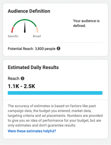 Instagram ads audience definition and estimated daily results