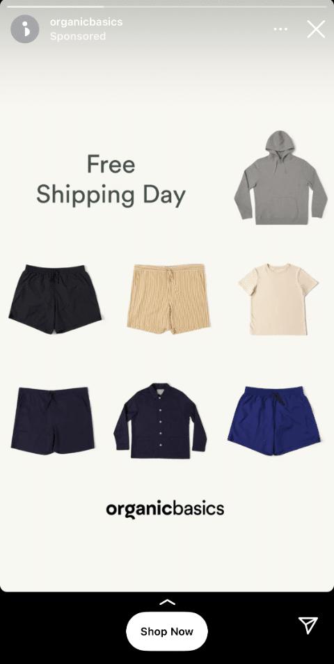 Organic Basics free shipping day story ad