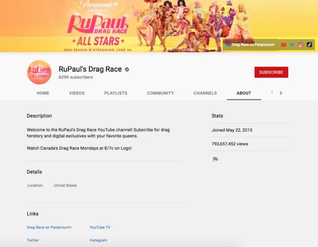 RuPaul's Drag Race YouTube channel description