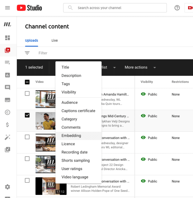 channel content embedding YouTube Studio