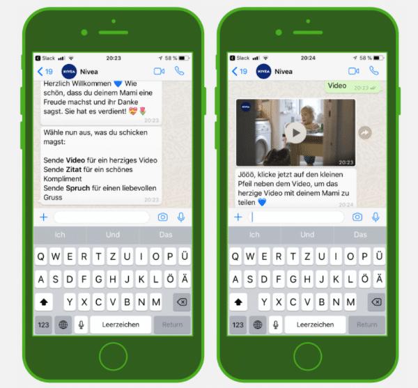 Der NIVEA-Chatbot auf WhatsApp mit speziellem Content zum Muttertag