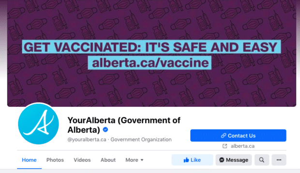 Government of Alberta vaccination information