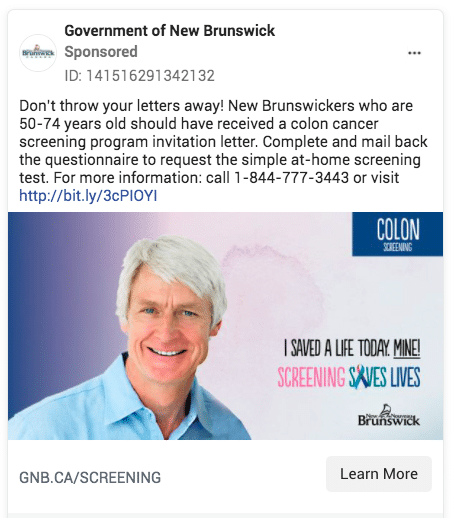 Government of New Brunswick targeted screening ad