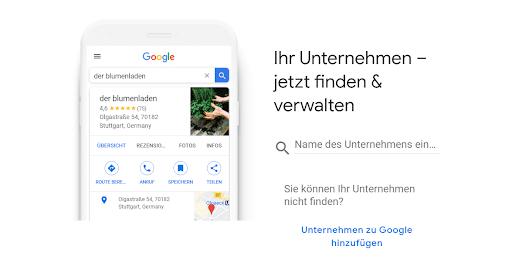 Finden Sie Ihr Unternehmen auf Google