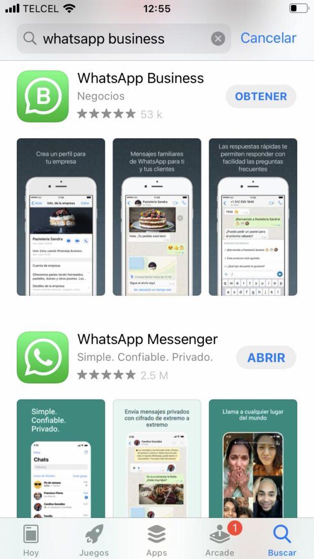 Pantalla de la AppStore donde se puede descargar la app de WhatsApp Business