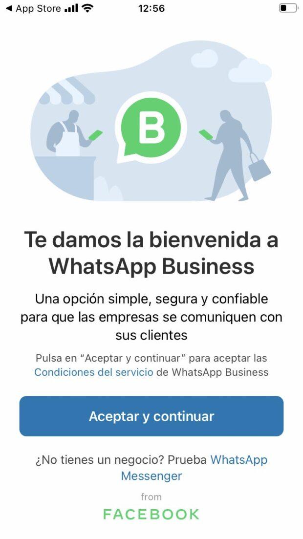 Pantalla de inicio para configurar una cuenta en WhatsApp Business