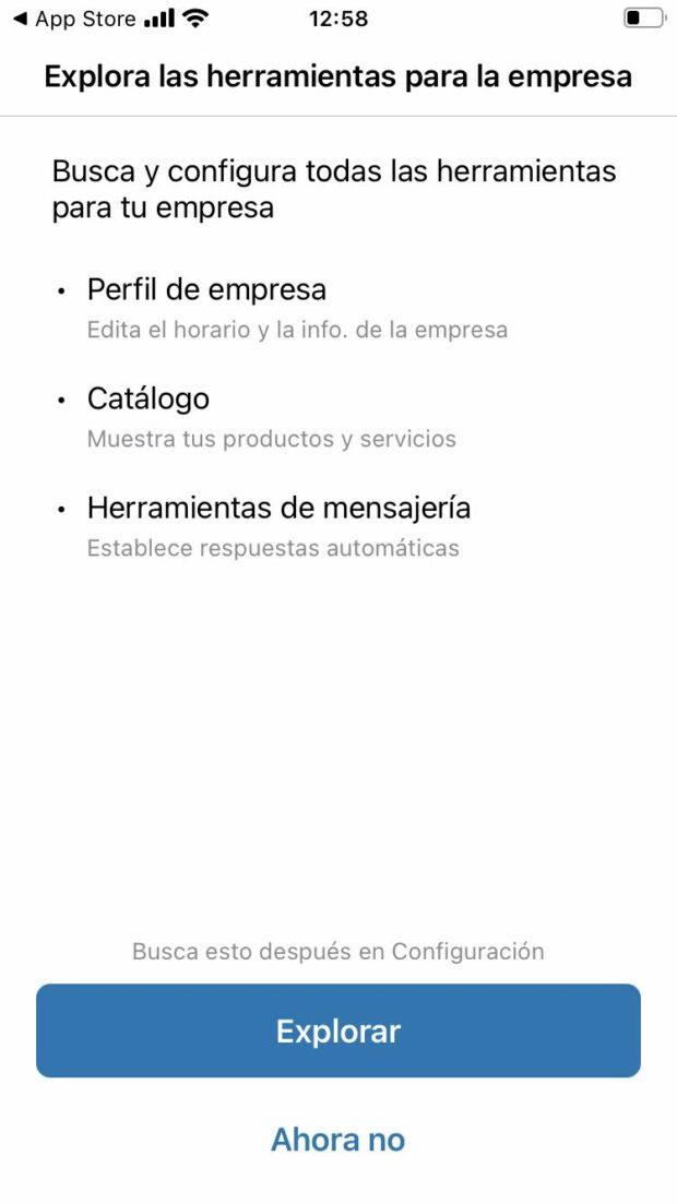 Captura de pantalla de la opción de WhatsApp Business para explorar sus herramientas