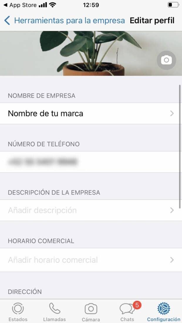 Captura de pantalla de las funciones avanzadas de WhatsApp Business