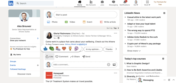 reactions comments and shares on LinkedIn