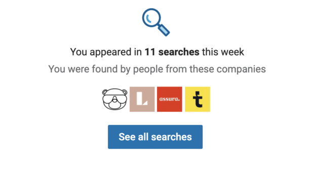 number of times LinkedIn profile appeared in searches in a week
