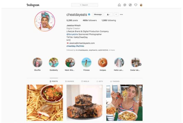 Cheat day eats lifestyle brand Instagram macro-influencer