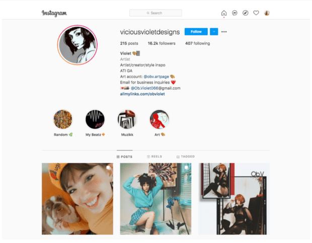 Vicious Violet Designs artist Instagram micro-influencer