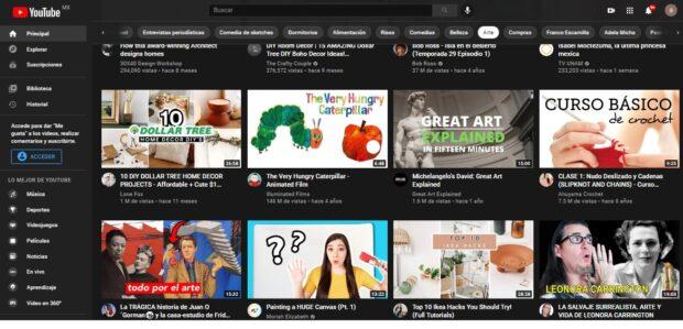 Algoritmo de la página de inicio de YouTube
