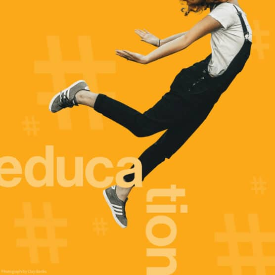 """person floating on a yellow background with the word """"education"""" overlaid"""