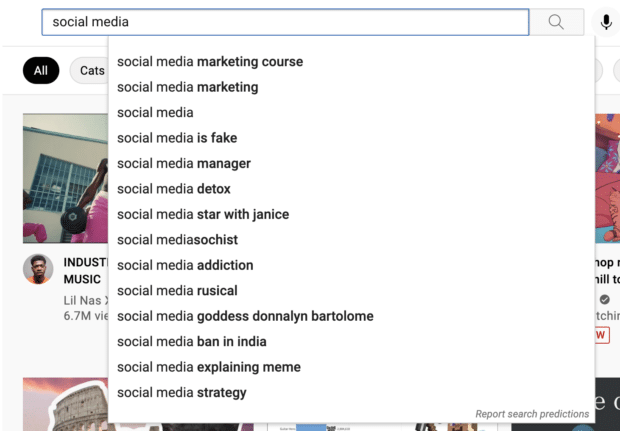 """YouTube search bar auto-suggestions for keyword """"social media"""""""