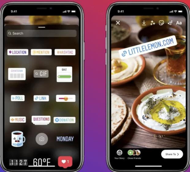 Instagram Story Sticker menu including link sticker